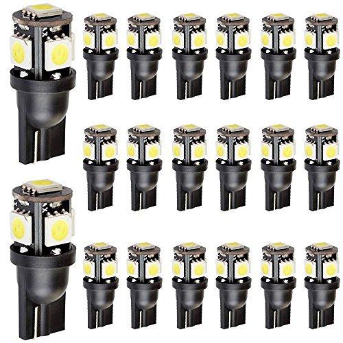 Preisvergleich Produktbild EverBright 20er-Packung weißer 5-SMD-LED-Lampen vom Typ T10,  194,  168,  2825,  158,  W5W,  5050 für Auto (Ersatzlampe für Handschuhfach,  Kofferraum,  Sidemarker)