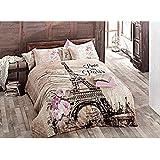 100% algodón Paris juego de funda de edredón de cama de reina/juego de funda de edredón de la torre Eiffel/parís tamaño doble juego de ropa de cama 4 pcs por