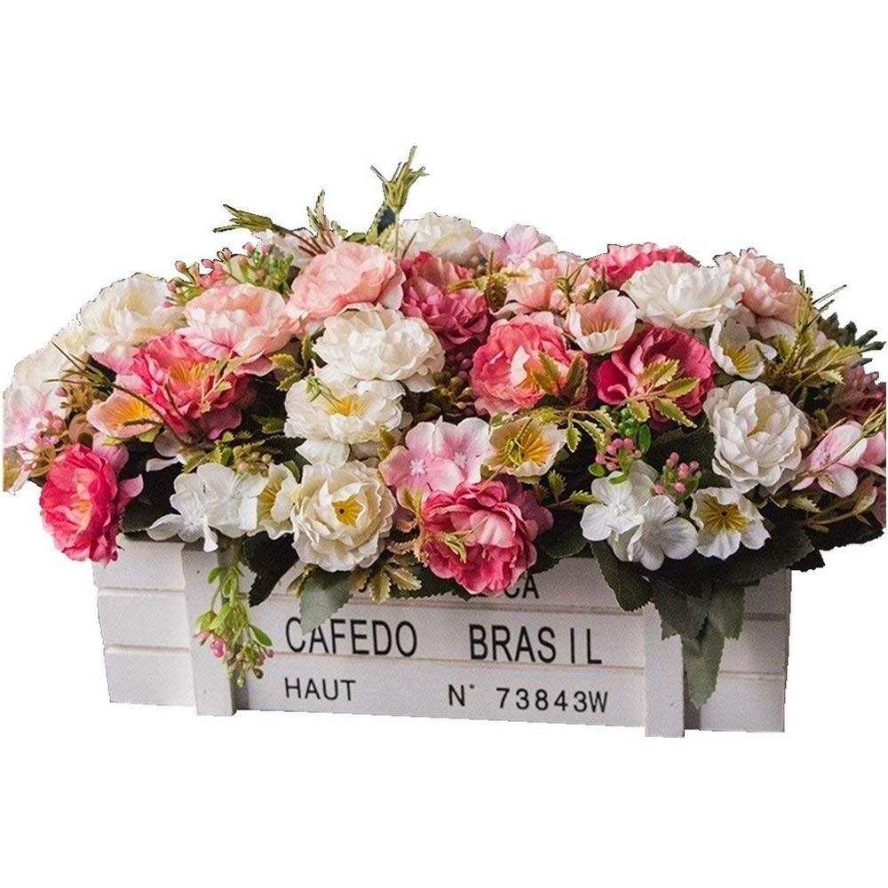 DSPOPEN68 Flores Artificiales Flor Artificial Fiesta De La Boda Cocina Casera Decoración Diy Madera Valla Pot Blanco…