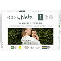 Eco by Naty, Size 1, 25 Nappies, 2-5kg, ONE MONTH supply, Plant-Based premium ecological nappy with 0% oil plastic on skin (Pack of 4)