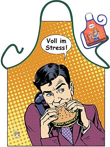 Workoholic Motiv Kochschürze Schürze Fastfood : Voll im Streß! -- Themenschürze mit Minischürze für Flaschen (Volle Latzschürze)