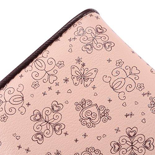 Leiwo Damen Elegant Süß Leder Geldbörse Damen Blumen Schnürsenkel Schuhband Portemonnaie Geldbeutel Rosa - 5