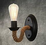 Retro Industrial rústico lámpara aplique (cuerda iluminación vintage Edison Lámpara casquillo E27para de decoración para hogar bar Restaurants café Club (110–220V, bombilla no incluidas)
