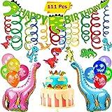 VAMEI 111Pcs Dinosaurier Geburtstag Deko Dinosaurier-Partei-Versorgungsmaterialien mit 30Pcs Dinosaurier-Ballonen 1pcs Dinosaurier-Fahne 2Pcs Folien-Ballone 30pcs Dinosaurier-Decke, die Swirl dinosaurier geburtstag 48pcs Tier-Kuchendeckel-Wahlen für Dinosaurier-Partei-Versorgungsmaterial-Dekorationen hängen