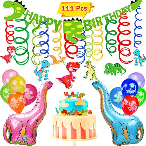 VAMEI 111stk Dinosaurier Geburtstag Deko Party Supplies mit Dinosaurier Ballons Banner Dinosaurier hängen Wirbel Dinosaurier Animal Cupcake Topper Optionen für Dinosaurier Party Supply Dekorationen