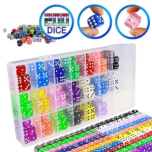 YOUSHARES 200 Stück Multi-Farb-WürfelSet & Aufbewahrungsbox Bundle – 20 Sortierten Farbe mit je 10 Stück, 16mm d6 Standardwürfel mit mit extra Tragetasche 200 Würfel