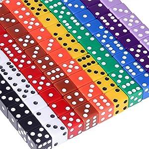 AUSTOR 100 Piezas, Juego de Dados, 10 Colores Square Corner Dados con Free Bolsa de Almacenamiento, Jugar Juegos como…