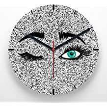 Reloj de pared 30 cm con ilustración guiño ojos verdes efecto purpurina plateada