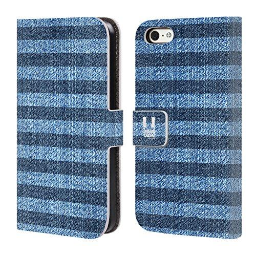 Head Case Designs Sterne Gedruckter Denim Brieftasche Handyhülle aus Leder für Apple iPhone 5 / 5s / SE Streifen