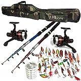 TMD-Line 22-tlg Angel Set mit Schnur 500m - 0,30mm Tasche 130cm Rute 2,40m Rolle FX500 Sehne Blinker