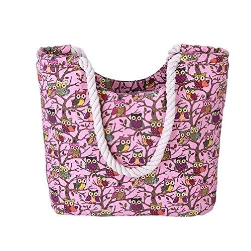 Transer  Women Shoulder Bag Popular Girls Hand Bag Ladies Canvas Handbag, Damen Schultertasche rose 45cm(L)*32(H)*10cm(W) rose