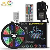 SUPERNIGHT RGB LED Strip Lights - Non-waterproof 16.4Ft / 5M 300Leds SMD Multi-color LED Light Strip Kit with 12V 2A Power Supply Adapter and 44Key Wireless IR Remote Controller for Indoor Decoration, Christmas, Car