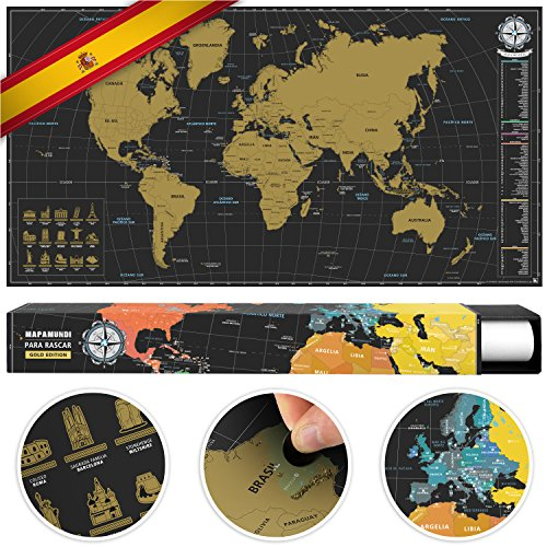 #benehacks Mapa Mundo ESPAÑOL Tipo póster rascar