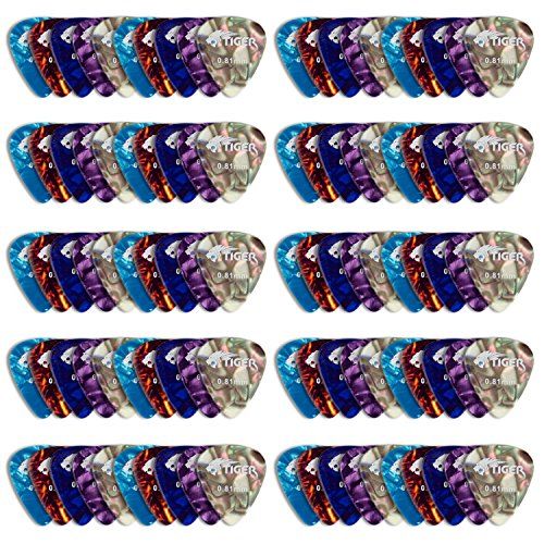tiger-pack-of-100-guitar-picks-variety-of-gauges-and-colours