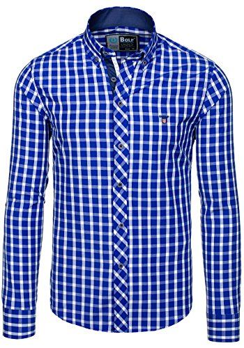 BOLF – Chemise casual – avec manches longues – à carreaux – BOLF 4747-1 – Homme Bleu