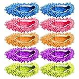 fireangels 10pc (5 Paar) Mikrofaser Mop Schuhe Cover – Einfach für Haus Boden Staub Schmutz Haare Reinigung (zufällige Farbe)