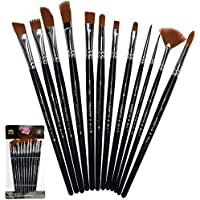 Paint Brushes 12 Set Professional Paint Brush Round Pointed Tip Nylon Hair artist acrylic brush for Acrylic Watercolor Oil Painting by Crafts 4 ALL (12)