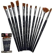 Brochas de pintura 12 Piezas Set Brocha Profesional Punta Redonda Pelo de Nylon artista Acrylic Brush para Acrílico Acuarela Óleo de Crafts 4 All