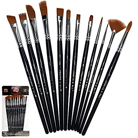 Paint Brushes 12 Pieces Set Professional Paint Brush Round Pointed