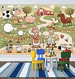 selbstklebende Fototapete - Kinderbild - Bauernhof - Vintage - 225x150 cm - Tapete mit Kleber – Wandtapete – Poster – Dekoration – Wandbild – Wandposter – Wand – Fotofolie – Bild – Wandbilder - Wanddeko