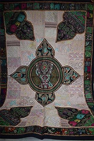 Traditionelle Handgemachte Vintage Patchwork Wandbehang mit Perlen 71