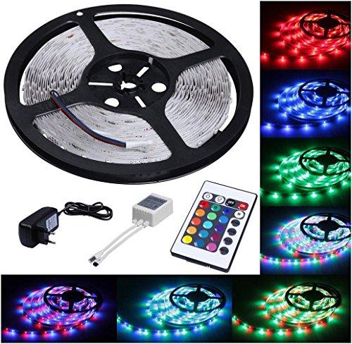 Covermason 5M RGB LED Stripe Leiste Streifen Band Lichter SMD Leuchten Lichterkette mit 300 LEDs (SMD 3528), Netzteil & Fernbedienung