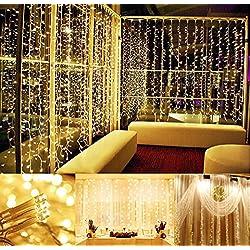 300 Led Lámparas Cortina de Luz Led Iluminación Luces Decorativas Interior Exterior Impermeables Cadena de Lámparas 3m*3m Navidad Bodas Cumpleaños Fiestas