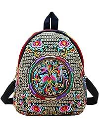 Bolso de bandolera para mujeres Flor vintage bordada Mochila Bolsa de viaje colorida hecha a mano
