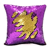 Mermaid Pillow Case, Play Tailor Magic Reversible Sequins Pillow Cover Throw Cushion Case 40x40CM (Purple-Gold)