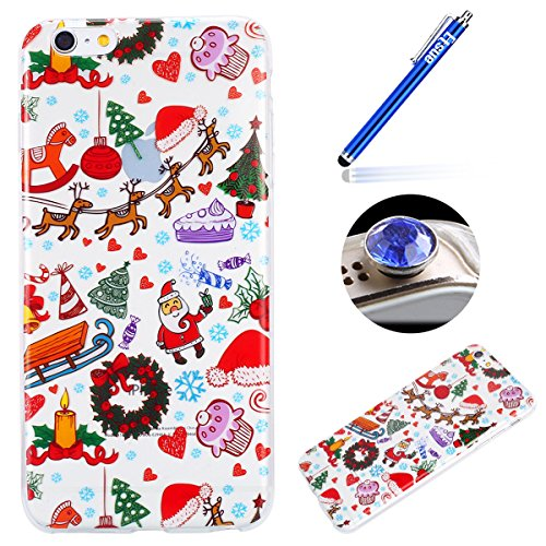 iPhone 7/8 Silicone Cover,Etsue 2017 Serie di Natale dipinta Pattern cover Trasparente Protective cover(case),Coperture Crystal Bling Bling Beautiful Stylish Flexible Tpu Cover Case, Soft Silicone Gel Parco giochi di Natale
