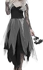 Enjoygoeu Halloween Kostüm Geisterbraut Zombie Zombiebraut Horror Braut Friedhofsbraut inklusiv Kopfschmuck (XL)