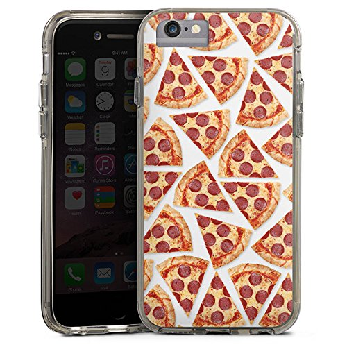 Apple iPhone 8 Bumper Hülle Bumper Case Glitzer Hülle Pizza Fast Food Stücke Bumper Case transparent grau