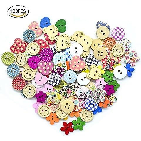 100 PCS bouton en bois couleurs mélangées porter deux trous