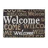 Relaxdays - Felpudo Welcome para la Entrada de su hogar Hecho de Fibras de Coco y PVC con Medidas 40 x 60 cm Antideslizante Elemento Decorativo, Color marrón Oscuro