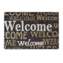 Relaxdays Coconut Fibre WELCOME Doormat 40 x 60 cm Coir Welcome Mat with No-Slip Rubber PVC Underside, Brown