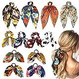 WATINC 12 Stücke Chiffon Bowknot Haar Haargummi Vintage Floral Schal Haargummis Pferdeschwanz Halter mit Tupfen Haarschmuck Seile für Frauen