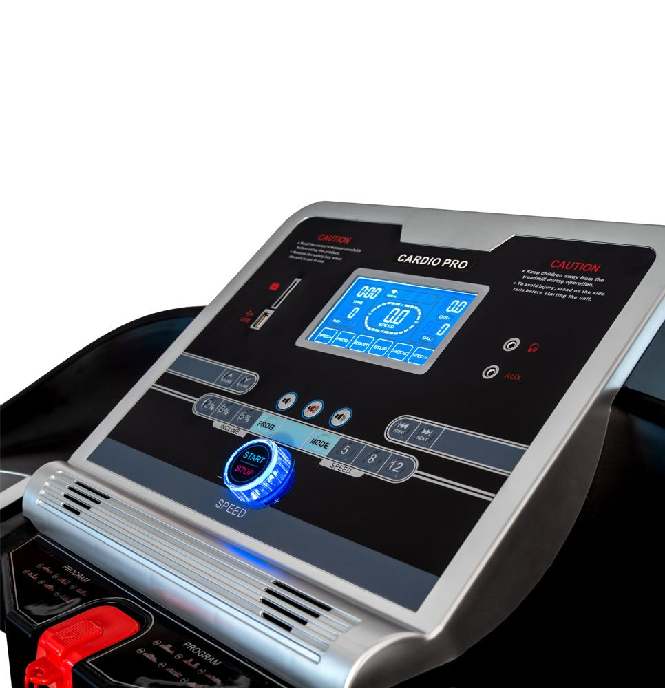 61HhWecImAL - Branx Fitness Foldable 'Cardio Pro' Touchscreen Console Treadmill - 17.5km/h - 6hp - 0-20 Level Auto Incline - Body Fat Readout - Soft Drop System - Smart Deck Suspension Points