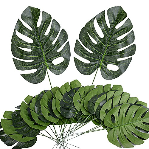 AONER 24 STK. künstlich Tropische Blätter mit Blattstiel (ca. 43 x 19 cm) gefälschte Palmblatt Palme Monstera Deko für Hawaii Luau Jungle Beach Theme Party Dekorationen
