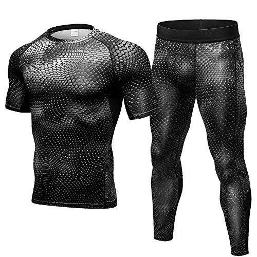 Fitibest Herren Kurze Ärmel Kompressions T Shirt&Kompressions Leggings,Base Layer Basic Unterwäsche Fitness (Kurz Base)