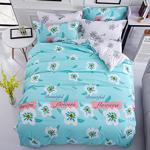 KFZ Bett Set (Zwei Full Queen King Size) [4: Bettbezug, Bettlaken, 2 Kissenbezüge] keine Tröster KY-Sommer Blumen Point Leaf Show Print Design für Kinder, Erwachsene, Microfaser, Beautiful Flowers, Purple, Twin 59