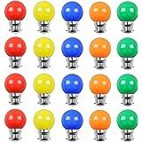 Huamu Lot de 20 ampoules Led B22 2W Guirlande Rouge, Jaune, Orange, Vert, Bleu,Incassable (équivalence 20W)