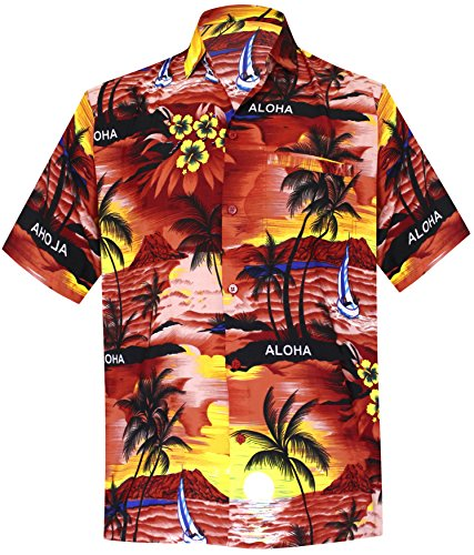 *La Leela* Shirt Camicia Hawaiana Uomo XS - 5XL Manica Corta Hawaii Tasca-Frontale Stampa Hawaiano Casuale Regular Fit Rosso538 3XL