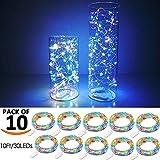 SiFar 10 Stück 2M 20 LEDs Mini Kupferlampe Multicolor Mit Batteriebetriebene LED Lichterketten, FlaschenLicht Lichterketten für Flasche DIY, Party, Dekor, Weihnachten