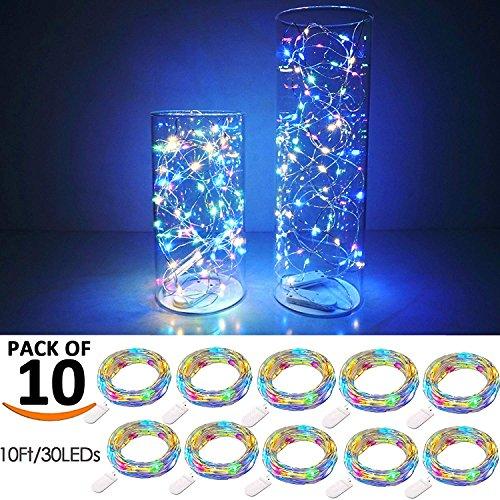【10 pezzi】 SiFar 20 LED 2M Mini Lampada a fili di rame Multicolore, Luci stringa LED Luci d'atmosfera Bottiglia di vino, Luci stellate alimentate a batteria per bottiglie Fai da te, feste