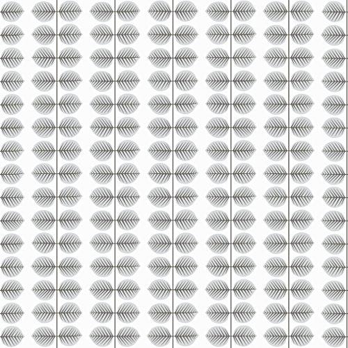 Stig Lindberg 1751 Vliestapete Blattranken formal geometrisch in hellgrau und schwarz auf weiß