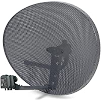 SSL Satellites Zone 2 Satellite Dish & Compatible Sky Q Hybrid LNB - 6 Outputs, 4 Quad outputs for normal Sky HD or FREESAT, 2 wideband outputs for Sky Q, 1TB, 2TB