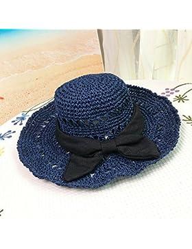 LVLIDAN Sombrero para el sol del verano Lady Anti-sol Grande Artesanal el lado ancho de la playa sombrero de paja...