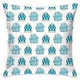 FFYS-BSTG Olympique De Marseille Canapé Lit Home Café Decor Taie D?Oreiller Carré Housse De Coussin Tissu De Coton Invisible Fermeture à Glissière 45cm*45cm...