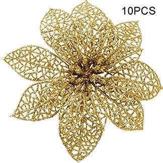 Zeagro – Adornos para árbol de Navidad (10 Unidades, 13 cm), diseño de Flor de Pascua de Pascua de Oro y Flor de Pascua roja, Flores Artificiales