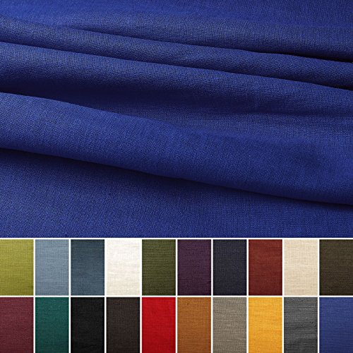 Tela de lino natural - 100% lino puro - Gran textura de lino - 20 colores - Por metro (Azul real)